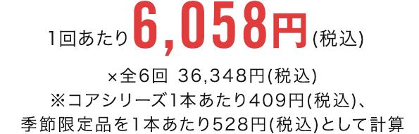 1回あたり6,058円(税込) ×全6回 36,348円(税込)※コアシリーズ1本あたり409円(税込)、季節限定品を1本あたり528円(税込)として計算
