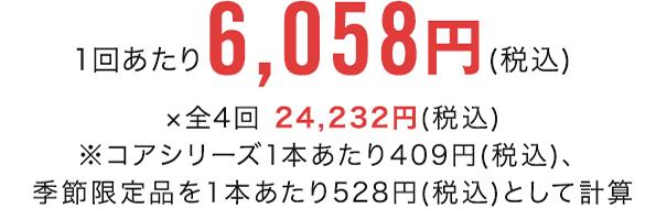 1回あたり6,058円(税込) ×全4回 24,232円(税込)※コアシリーズ1本あたり409円(税込)、季節限定品を1本あたり528円(税込)として計算