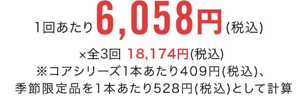 1回あたり6,058円(税込) ×全3回 18,174円(税込)※コアシリーズ1本あたり409円(税込)、季節限定品を1本あたり528円(税込)として計算